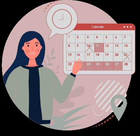 Ein Icon, das eine Frau mit einer Sprechblase, in der eine Uhr zu sehen ist abbildet. Die Frau zeigt auf einen Kalender.